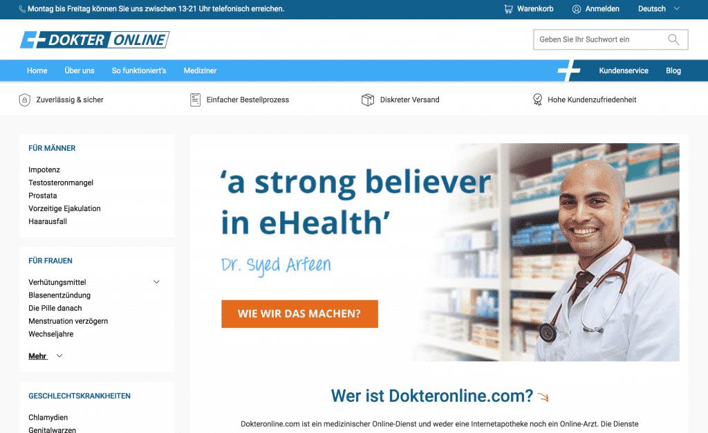 Webseite von Dokteronline.com