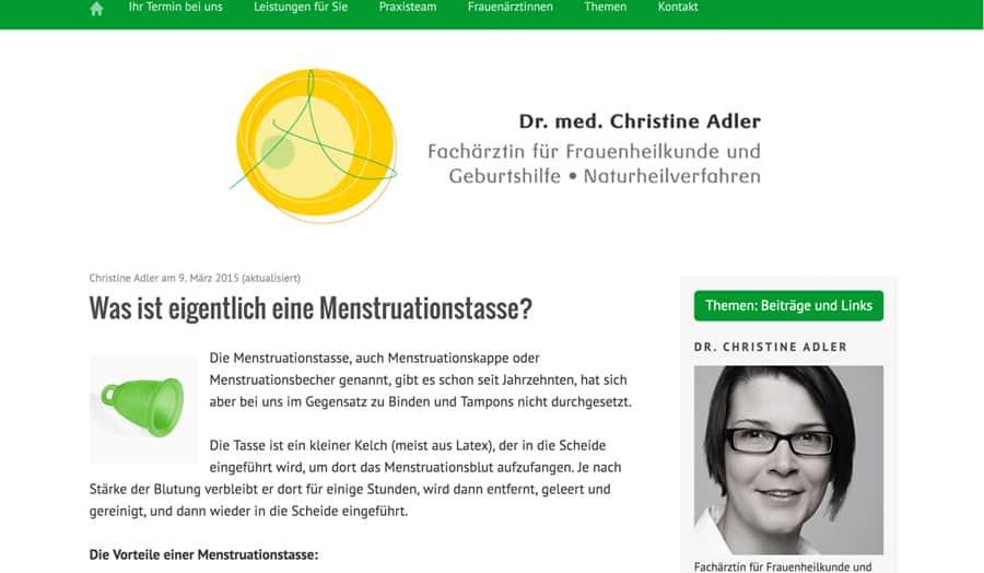 Dr Christine Adler zur Menstruationstasse
